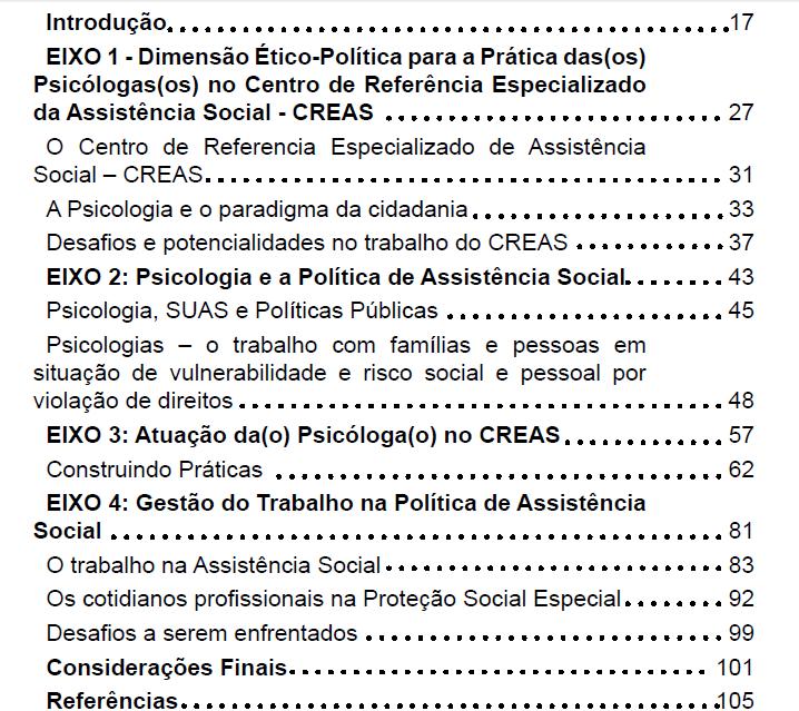 sumario Doc CREAS CREPOP CFP