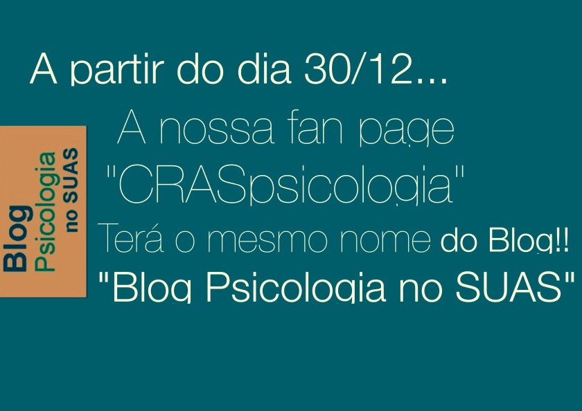 Blog Psicologia no SUAS no facebook