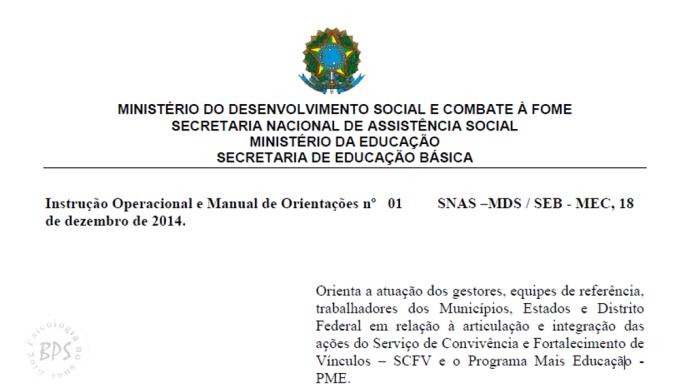 IO e Manual de Orientações sobre a articulação e integração das ações do  SCFV e o MaisEducação