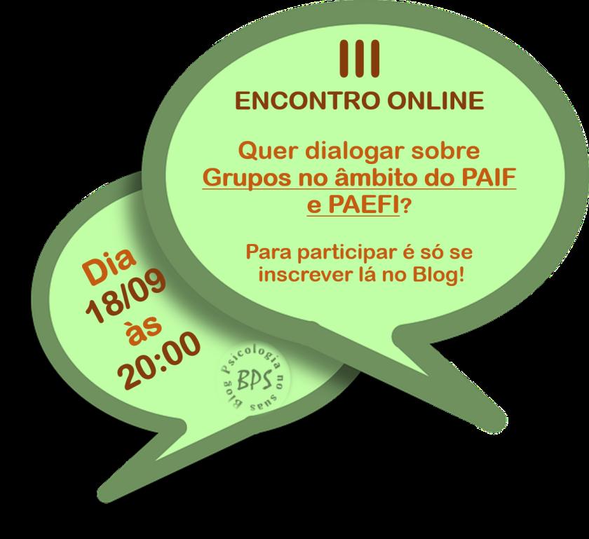 Encontro online Grupos no PAIF e PAEFI