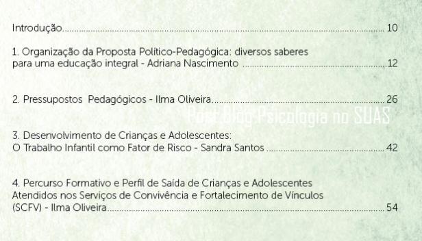Sumário Caderno I Proposta pedagogica