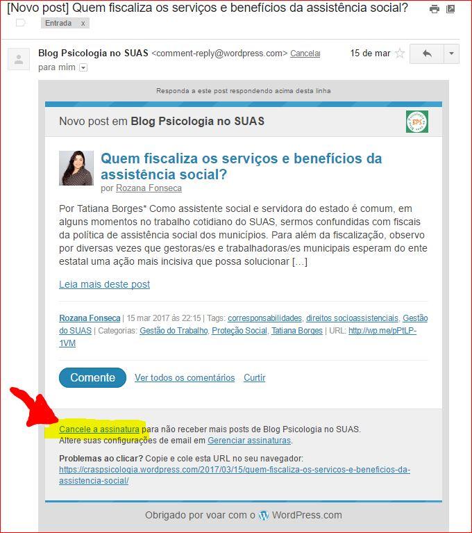 Cancelar assinatura Blog Psicologia no SUAS